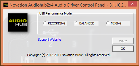 Audiohub USB 2 Audio Control Panel